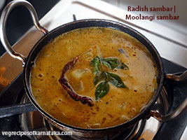 Radish or moolangi sambar recipe