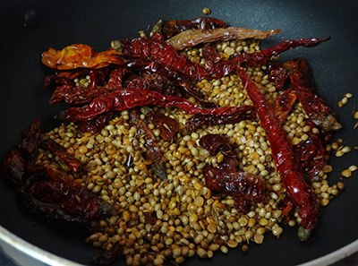 frying spices for udupi sambar powder or mysore style sambar powder