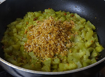 ground masala for sorekai palya or bottle gourd stir fry