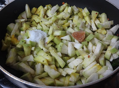 salt and jaggery for sorekai palya or bottle gourd stir fry