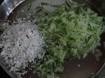 grated cucumber and coconut for southe pundi or unde kadubu