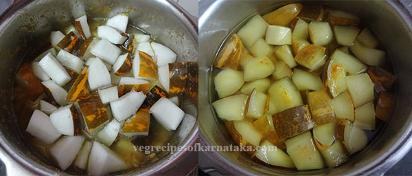 cooking cucumber for southe sambar