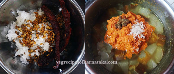 making southekayi or cucumber sambar