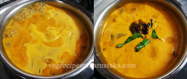 boiling mangalore style southe or cucumber sambar