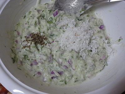cumin and grated coconut for cucumber paddu or southekai guliyappa