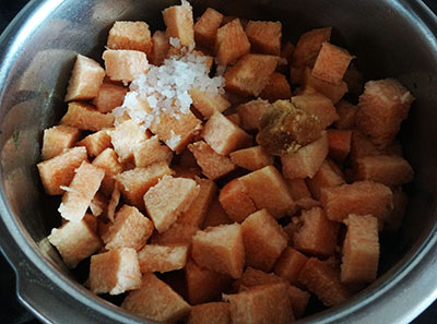 chopped yam for suvarna gadde huli or yam sambar
