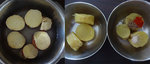 cook sweet potato for papad