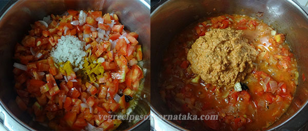 adding masala for tomato bath or tomato rice