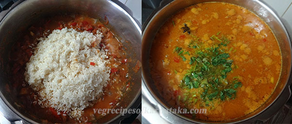 rice and water for tomato bath or tomato rice