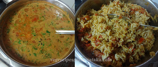 making karnataka style tomato bath or tomato rice