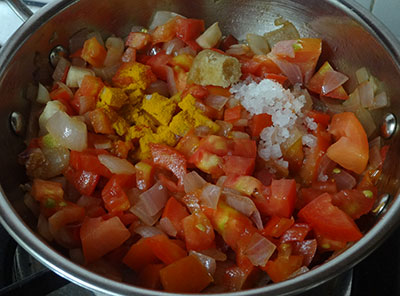 salt and turmeric for tomato onion chutney or red chutney