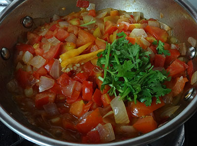 chili and coriander leaves for tomato onion chutney or red chutney