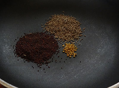 roast spices for tomato pickle or tomato uppinakayi