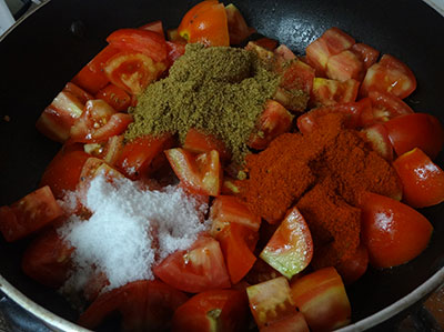spice powder, red chili powder and salt for tomato pickle or tomato uppinakayi