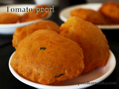 tomato poori recipe, how to make tomato poori