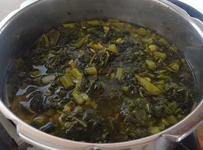 cooked dal, green gram and leaves for upsaaru