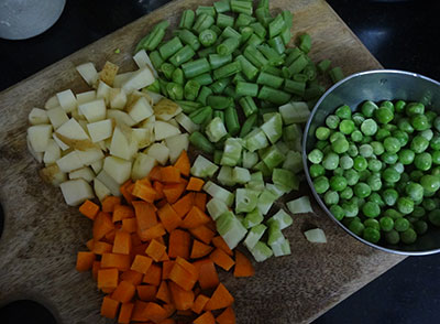 vegetables for veg kurma or mixed vegetable curry
