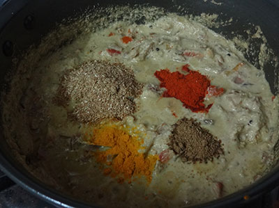 spice powders for veg kurma or mixed vegetable curry