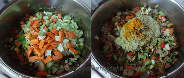 vegetable and masala for karnataka style pulao