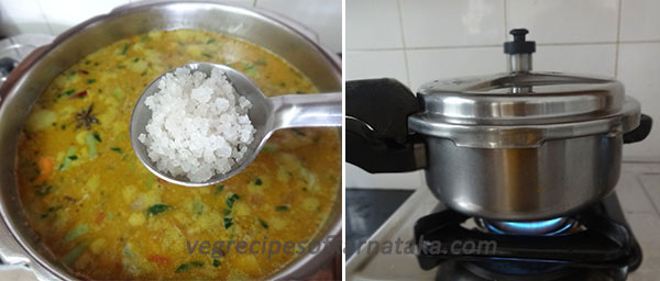 Karnataka style pulao recipe how to make karnataka style pulav add in salt and mix well close the lid and make 2 whistles forumfinder Image collections