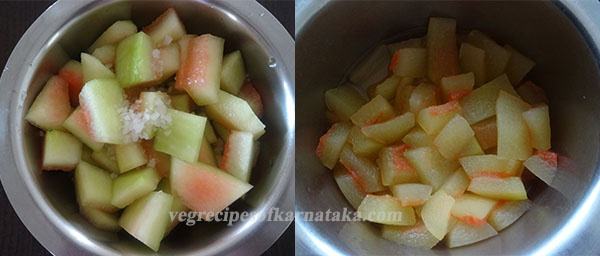 cooking watermelon rind for chutney